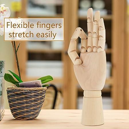 h/ölzerne Handpuppe sicher Massivholz m/ännliche linke Hand f/ür K/ünstlerstudenten Holzhandmodell flexible Verbindungen
