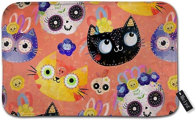 Zara-Decor - Alfombrilla de baño Antideslizante para Uso Diario, diseño de Gatos y Calaveras: Amazon.es: Hogar