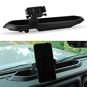SUNPIE Dash Tray Mount Phone Holder for Jeep Wrangler JL JLU 2018 2019 (Reuse Factory Screws)