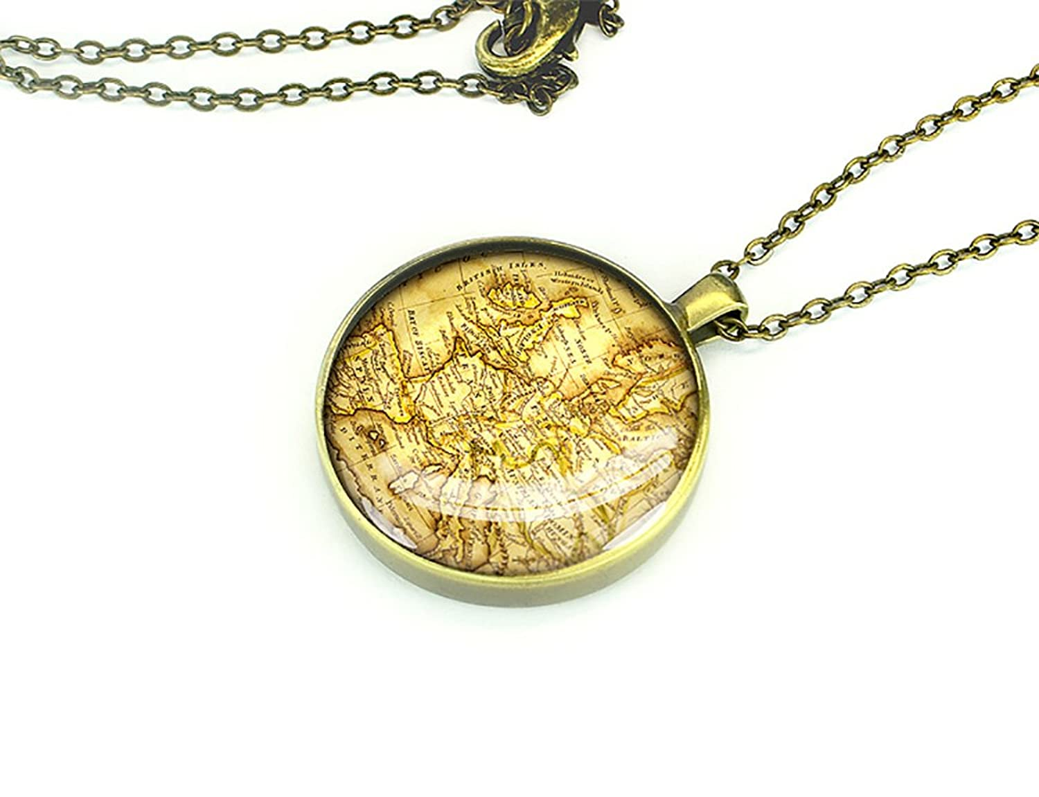 Handmade 1824 vintage Europe map necklace World map jewelry OOAK