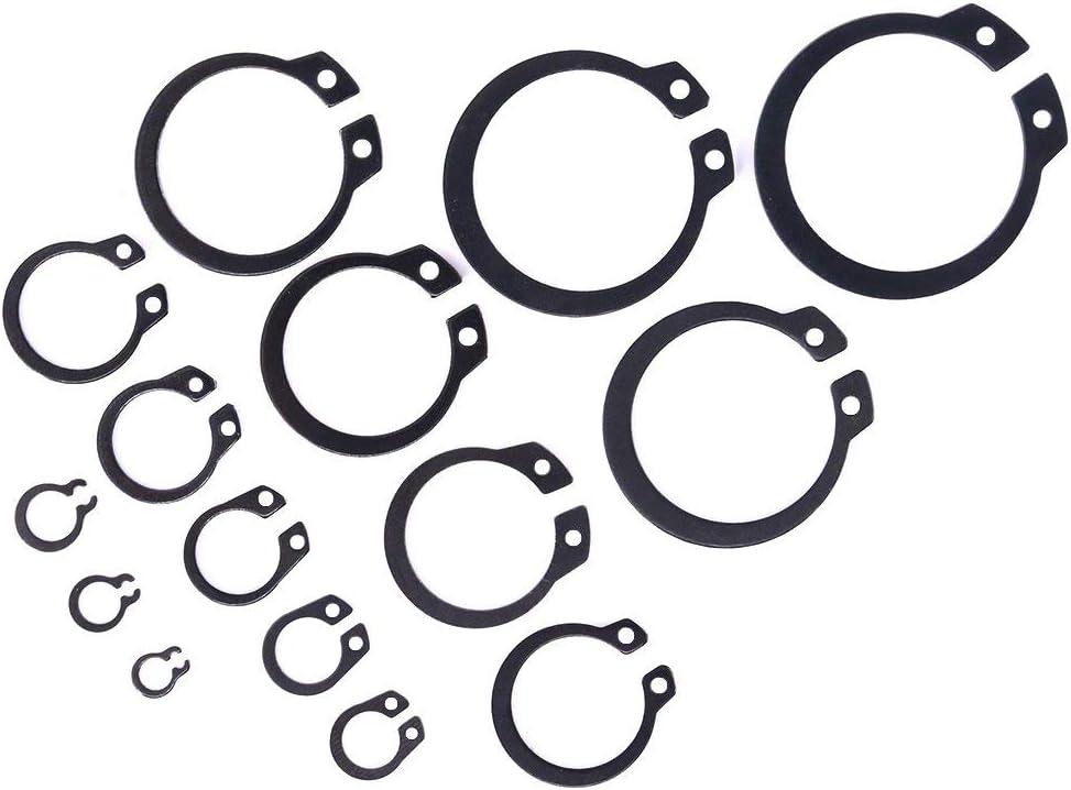 -100pcs 13 Sizes Wven Alloy Steel External Circlip Snap Retaining Clip Ring