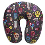 Mexican Skull Super U Type Pillow Neck Pillow Outdoor Travel Pillow Relief Neck Pain