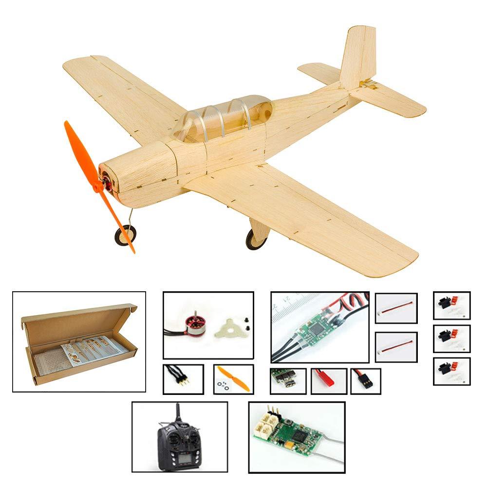 ミニバルサウッドRC飛行機キットビーチクラフトT-34模型飛行機、大人用の18.5 ''レーザーカットRC飛行機キット、組み立てられていない電気趣味飛行機 (右スロットル)(キット+モーター+ ESC +サーボ+TX/RX401) B07S1767R5  キット+モーター+ ESC +サーボ+TX/RX401