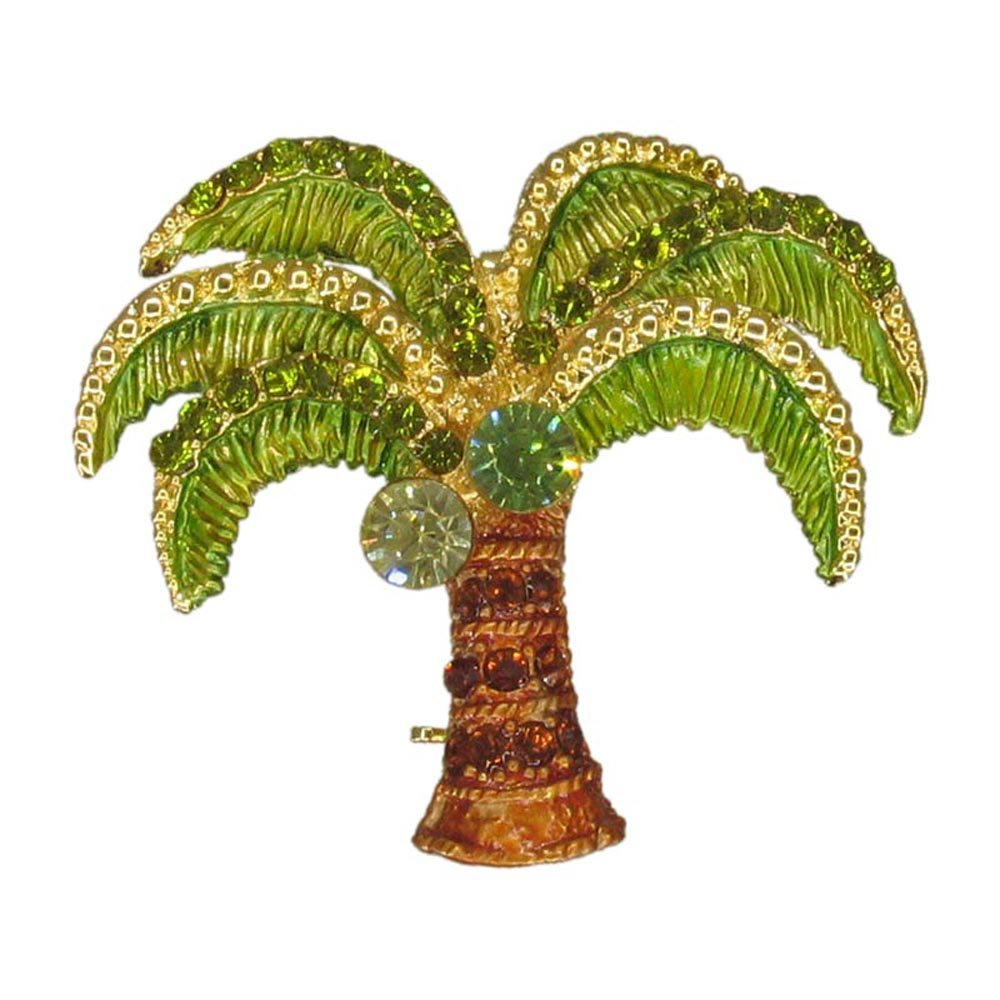 Palm Tree Brooch (Dainty Hand Painted Gold Plated Crystal Tree Pin Beach Summer Ocean Jewelry RSN2265OLI-P)