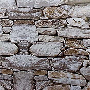 stick peel stone rock self faux paper amazon contact wall 1900 adhesive grey brown haokhome lt roommates weathered