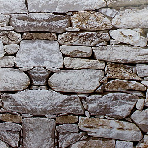 Haokhome 1900 Faux Rock Stone Peel And Stick Wallpaper Lt.grey/brown Self-adhesive Contact Paper