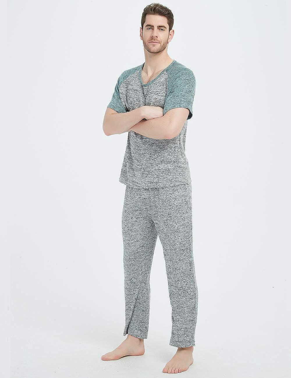 Pijamas para Hombres Conjunto De Algod/ón De Pijamas Unisex Camiseta con Parte Superior e Inferior Mangas Cortas Y Pantalones