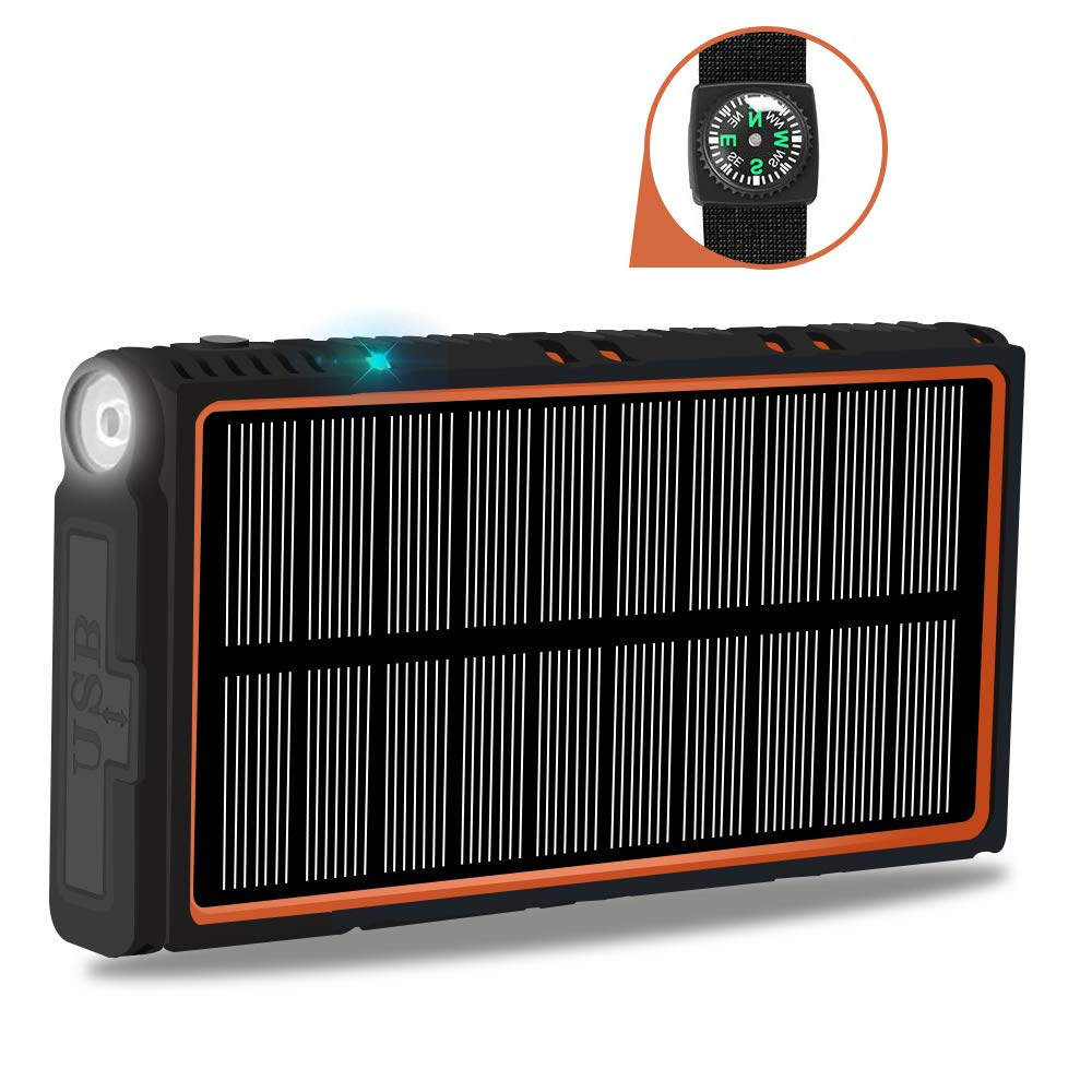 soyond Solar Power Bank-15000 mAh Portable Solar Battery Phone Charger Dual USB Waterproof 2 Led Light Flashlight with Compass for Camping Outdoor Hiking for Smartphones (Orange)