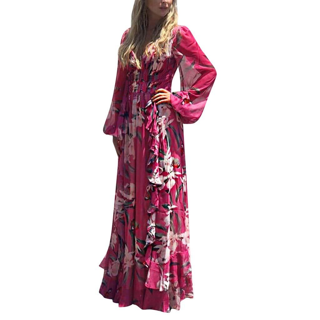 Ultramall Women Fashion Bohemian Floral Printed V Neck Long Sleeve Pleated Chiffon Dress(Hot Pink,M) by Ultramall (Image #1)