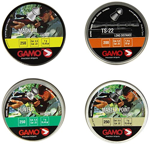 Gamo 63209275554 Performance Airgun Pellets Combo Pack 950 Assorted, .22 Caliber (Gamo Plinking Target)