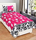 Homefab India 3D Economy 140 TC Polycotton Single Bedsheet with Pillow Cover - Modern, Pink
