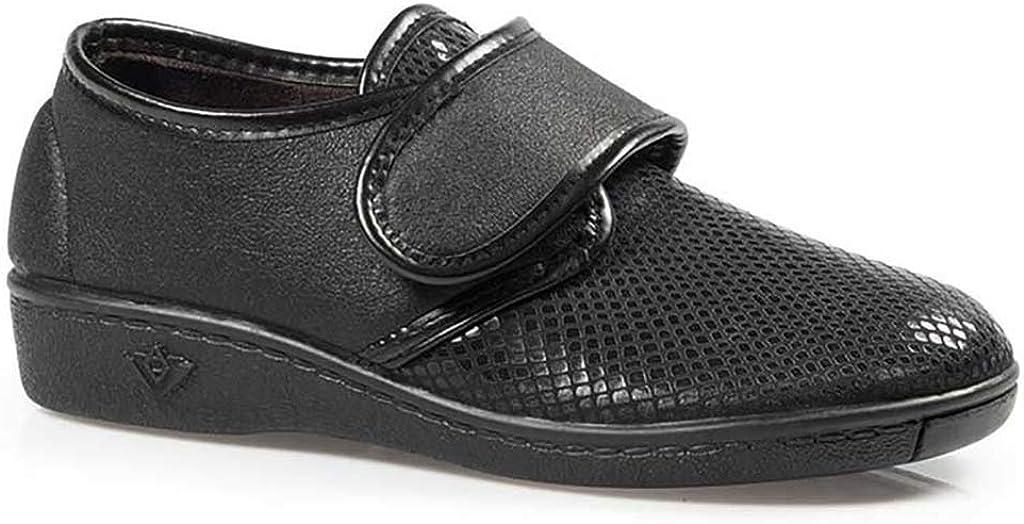 Zapatillas Mujer Linea Confort Marca CALZAMEDI, Horma Ancho 13, Altura 2cm, Piel Color Negro, Pala elástica, Plantilla Extraible, Cierre Velcro y Piso Antideslizante - 3034-99