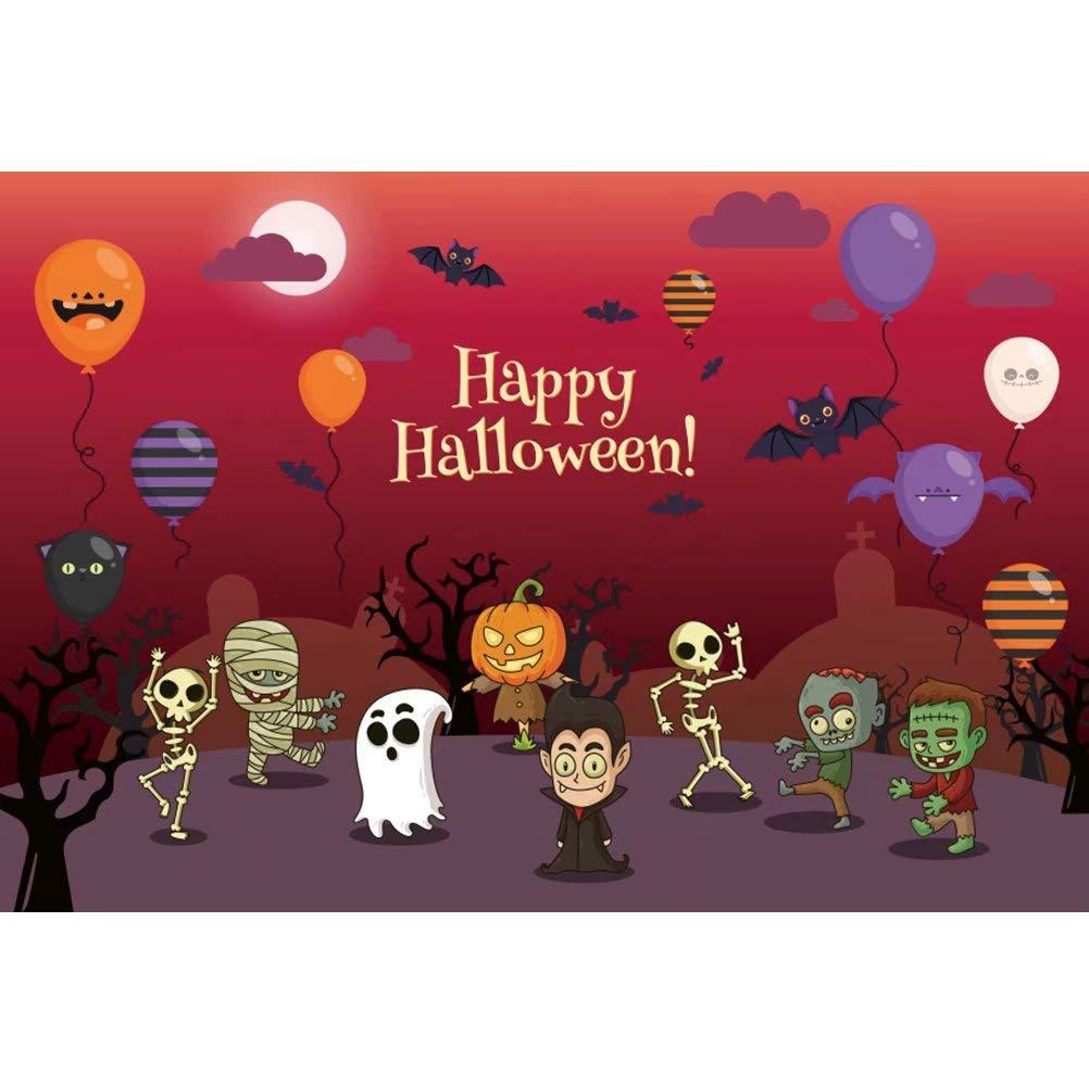 Cassisy 2,2x1,5m Vinilo Telon de Fondo Feliz Halloween Banner Castle Cementerio Calabaza Fantasma Vista del Atardecer Fondos para Fotografia Party Infantil Photo Studio Props Photo Booth