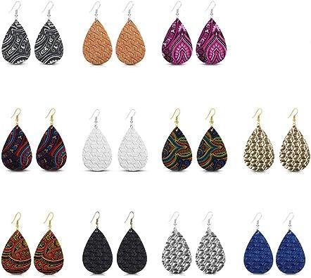 12 Couleur cuir synthétique Teardrop Boucles d/'oreilles fashion ethnique bijoux femmes boucles d/'oreilles