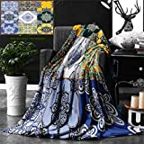 Ralahome Unique Custom Double Sides Print Flannel Blankets Moroccan Decor Multi Set Islamic Portuguese Tile Patterns In Various Tones Super Soft Blanketry Bed Couch, Twin Size 80 x 60 Inches