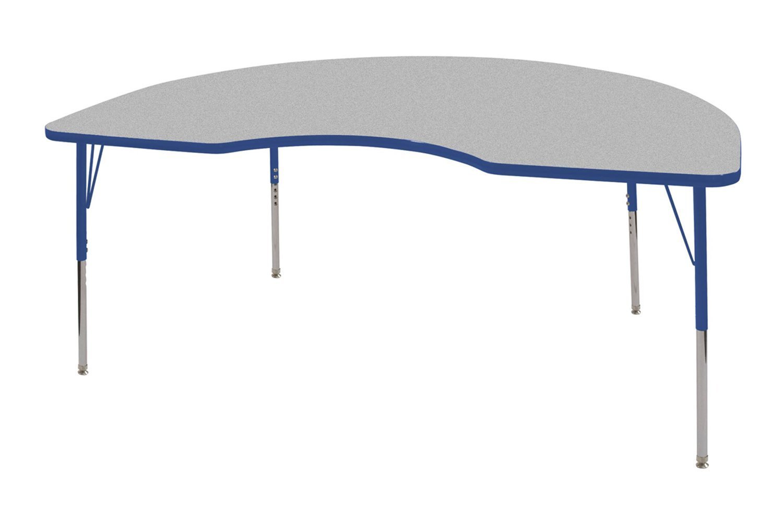 ECR4Kids 48'' x 72'' Kidney Activity School Table, Standard Legs w/Swivel Glides, Adjustable Height 19-30 inch (Grey/Blue)