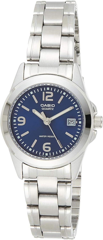 Casio Collection LTP-1259PD-2A, Reloj Análogo Clásico, Acero Inoxidable, Plateado