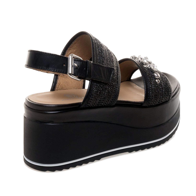 Sport Straw Black Sandals Wedge Woven Janetamp; Nora thdrCsQ