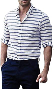 jfhrfged Camisas de Hombre Casual abotonadas de Manga Larga a Rayas Verticales Moda Soft Top: Amazon.es: Deportes y aire libre