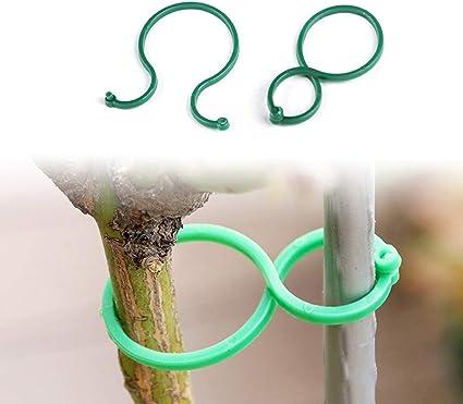 100 Garden Plant Support Clips Vegetables Tomato Vine Grow Flower Locks V5Z0