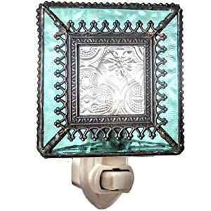 J Devlin NTL 166 Vintage Styled Stained Glass Decorative Night Light Aquamarine Blue