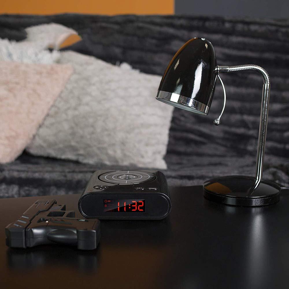 Pistola Tiro Gioco Sveglia Effetti Sonori Realistici Tiro Target Giocattoli Visualizzazione del Tempo Orologio da Comodino Svegliato Regalo Konesky Sveglia Target