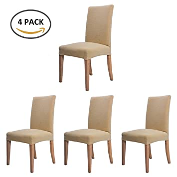 4 Pieces Housse De Chaise Decor Extensible Stretch Couverture