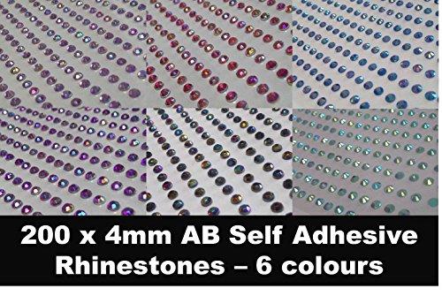 CraftbuddyUS CB002 200 x 4mm Self Adhesive AB LILAC DIAMANTE Stick on Gems Rhinestones BLING