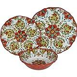 8 X Le Cadeaux Allegra Red - 3 Piece Place Setting, 24 Piece Set