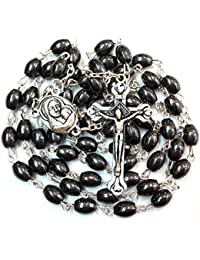 Black Hematite Oval Beads CATHOLIC ROSARY NECKLACE with Jerusalem Soil Cross Crucifix in a Gift Box