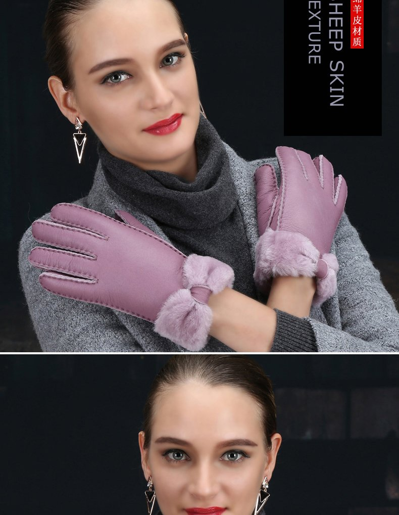 Generic All-in-one_fur_ glove gloves women girls _full_ leather _trim_Cashmere_wool_warm_plus_velvet_thick_ski_outdoor_ glove gloves women girls winter