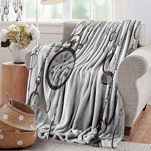 - Velvet Touch Ultra Plush,Antique Decor Collection,Many Old Style Pocket Watch on Chain Clocks Chronometer Hours Antique Image,White Grey,300GSM,Super Soft and Warm,Durable Throw Blanket 30