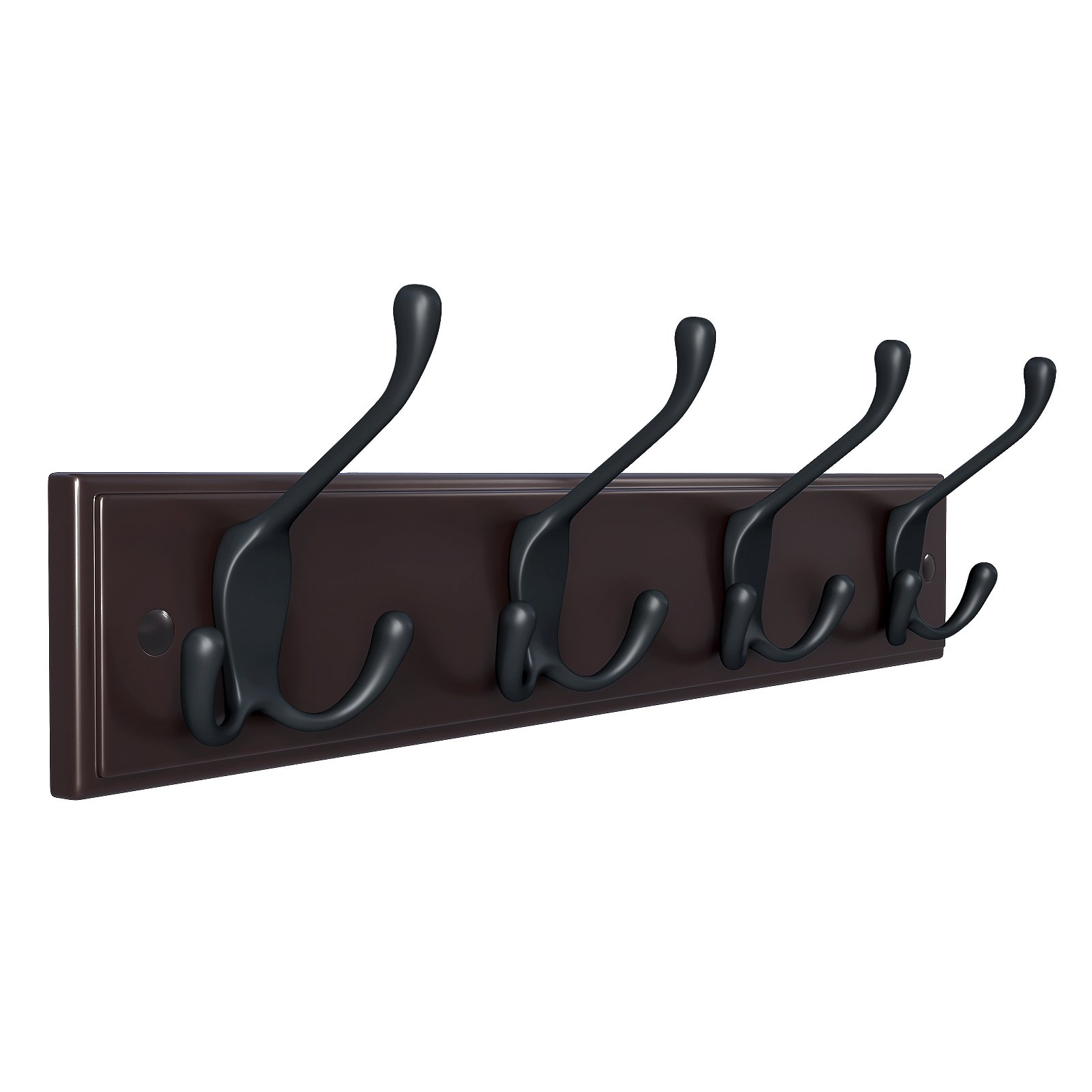 SONGMICS Wall Mounted Coat Rack 16'' Hook Rail Rack with 4 Tri-Hooks for Entryway Bathroom Closet Room, Dark Brown ULHR30Z