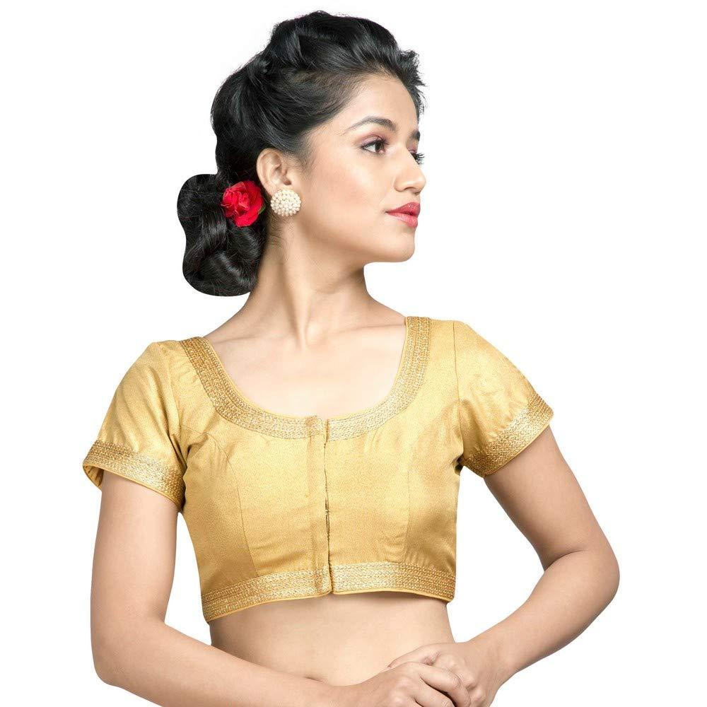 Designer Indian Traditional gold Tissue Padded Half Sleeves Saree Blouse Choli (X491Sl)