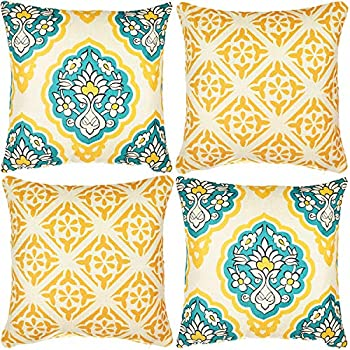 Wondre4 Pack of 4 Decorative Linen Cushion Throw Pillow Covers Natural Linen Look Fabric,Modern Geometric Patterns,Decorative Cushion Covers for Sofa Bedroom Car (4PC, 20
