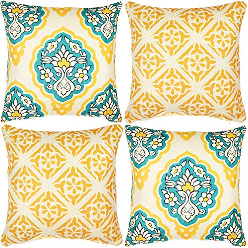 (Wondre4 Pack of 4 Decorative Linen Cushion Throw Pillow Covers Natural Linen Look Fabric,Modern Geometric Patterns,Decorative Cushion Covers for Sofa Bedroom Car 20 x 20 Inch)