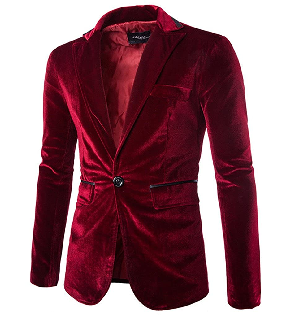 Rlouw Men's Stylish Peaked Lapel Blazer Jacket