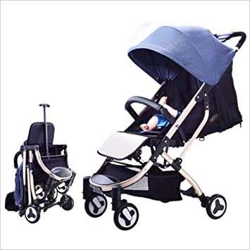QZX Cochecito de Viaje Ligero y Plegable Cochecito para bebé con 4 Ruedas ESTÁTICAS (FIJAS