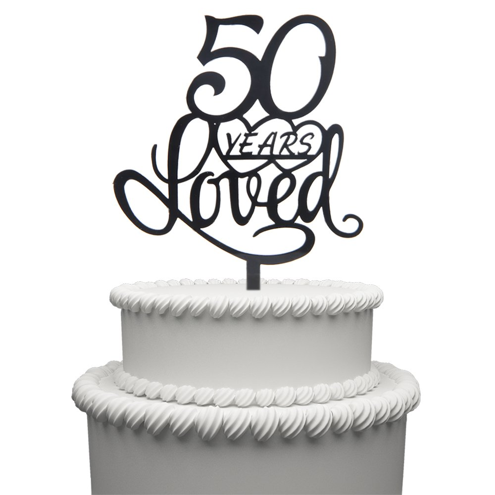 Amazon 50 Years Loved Cake Topper For Birthday Or 50TH Wedding Anniversary Black Acrylic Party Decoration Kitchen Dining