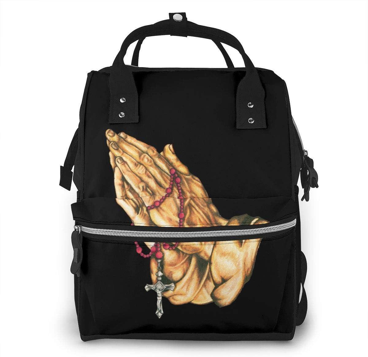 GXGZ Oración Manos Rosario Bolsa de pañales Moda Impermeable Mochila de viaje multifunción Bolsas de pañales grandes Mochila de momia para el cuidado del bebé