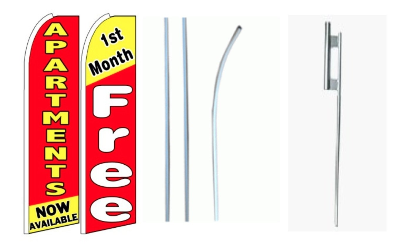 Apartments Now Available// 1st Month Free King Size Swooper Flag Sign with Pole and Full Assembly Pack of 2