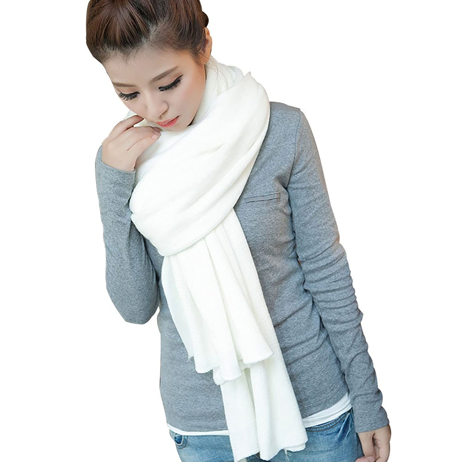 New Women Men Winter Warm Korean Pure Color Infinity Circle Cable Knit Cowl Neck Tassel Long Scarf Shawl