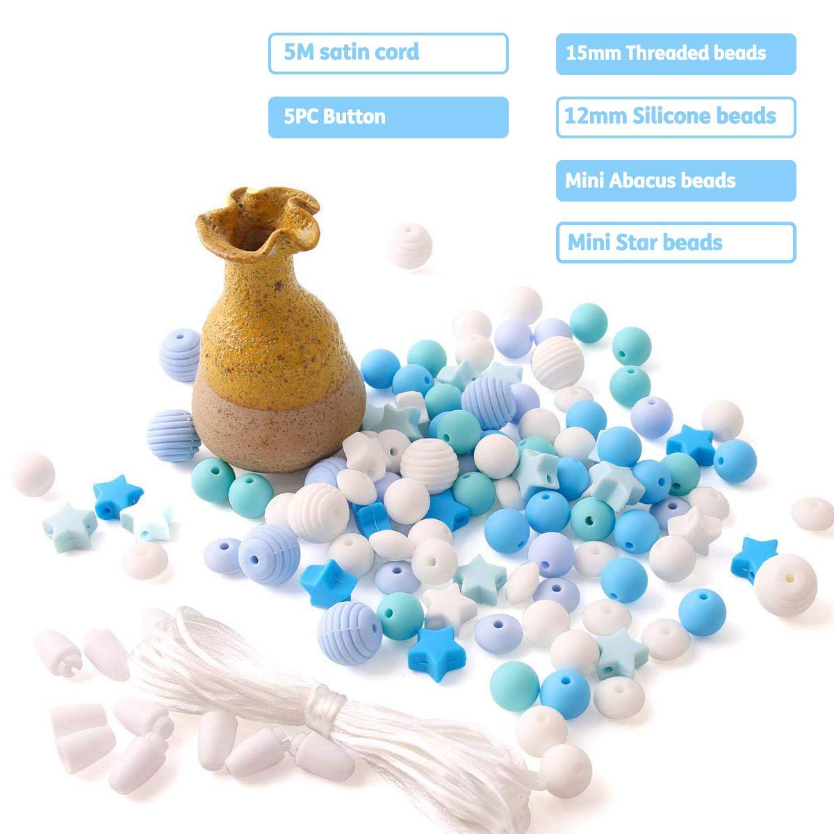 baby tete Cuentas de Mordedor de Silicona para Beb/é 100pcs sin BPA Dentici/ón de Grado Alimenticio Serie Azul Collar//Pulsera DIY Baby Pacifier Chain Jewelr
