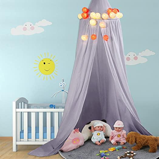 Children Bed Canopy Round Dome Mosquito Net Hanging Curtain Baby Kids Bedroom Accessories Grey