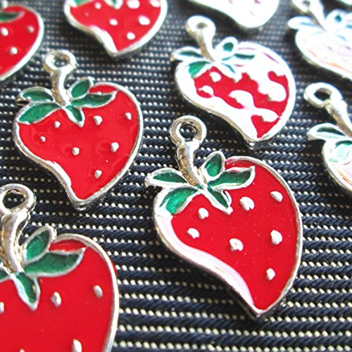 (6 Pcs - Enamel Strawberry Pewter Charms Pendants Berry)