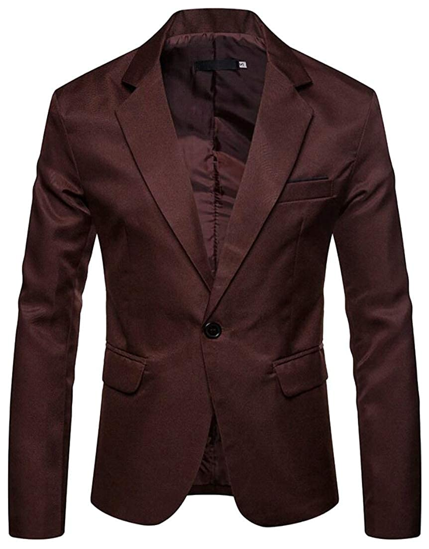 ainr Mens One-Button Leisure Solid Color Custom Fit Formal Suit Blazer Jackets
