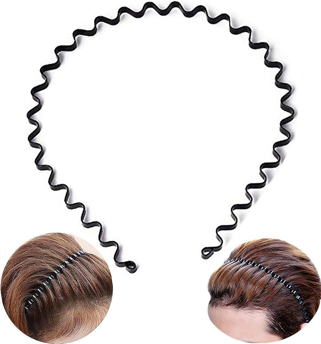 Charm Unisex Headband Metal Black Wavy Hair Head Hoop Band Sport Hairband Gift