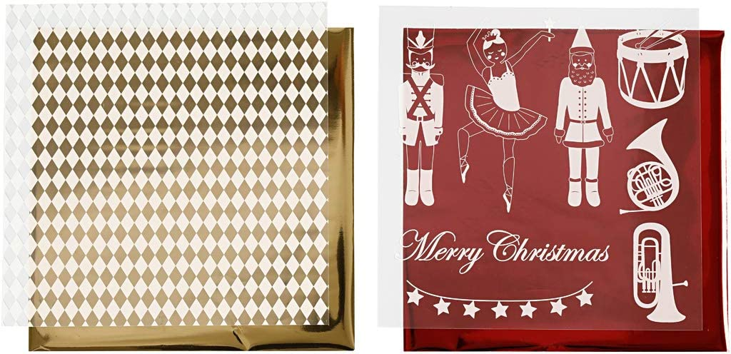 Lámina decorativa y hoja para transferencia, hoja 15x15 cm, blanco, dorado, rojo, Cascanueces, santa y bailarina, 4hoja: Amazon.es: Hogar