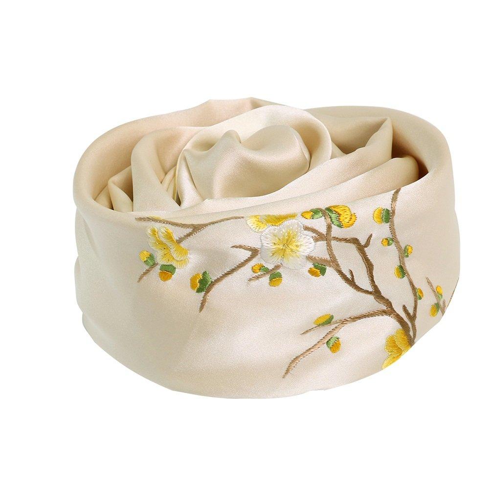 ZZHF weijin Spring and Autumn Plum Double Scarf Scarf 100% Silk Silk Scarves Pure Silk Scarf Shawl Ladies Scarf (155  35cm)