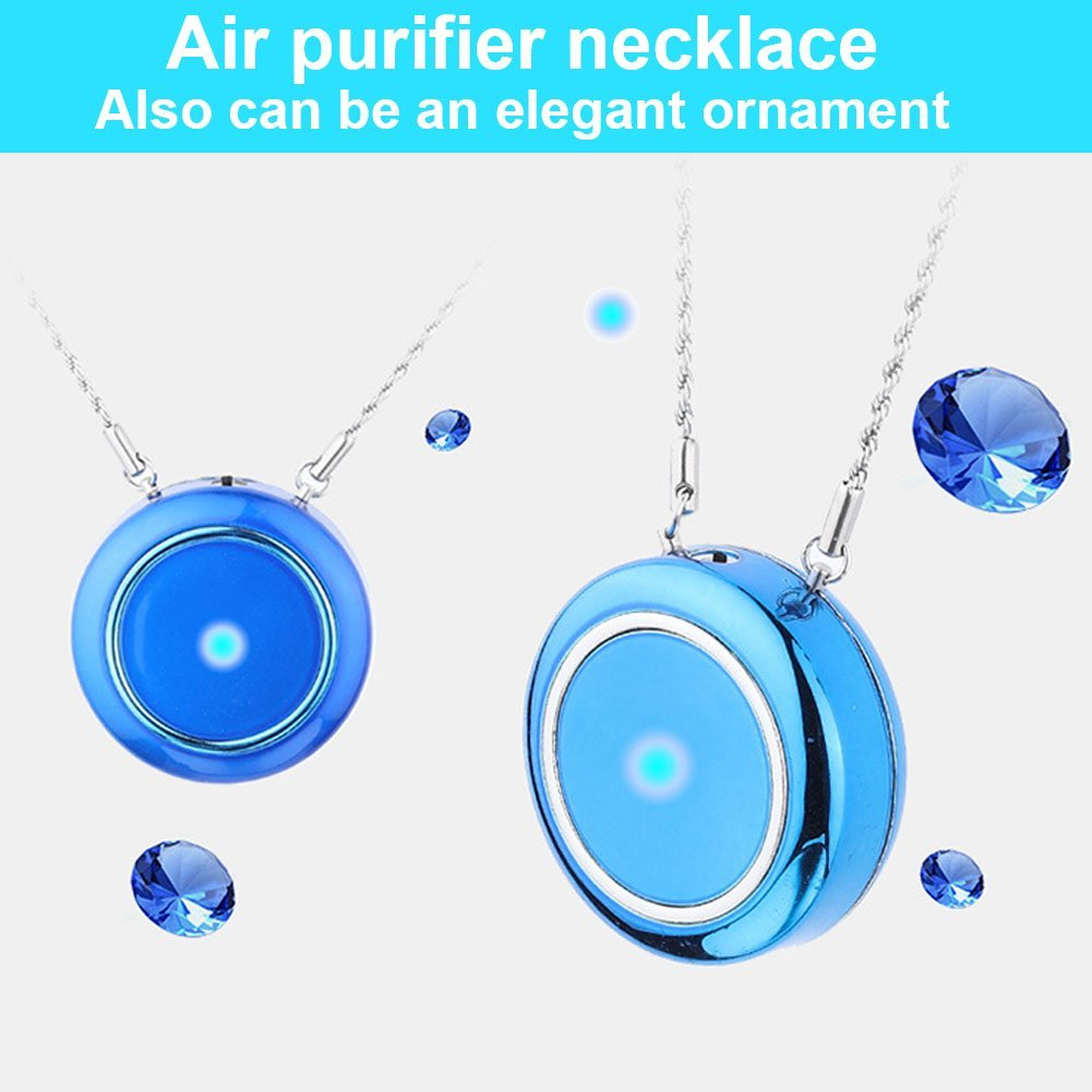 Woolala Personal Wearable Air Purifier Necklace//Mini Portable Air Freshner Ionizer//Negative Ion Generator//Odor Eliminator//Remove Smoke Dust//Low Noise for Adults Kids